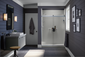 Bathroom with purple walls and a white walk-in shower